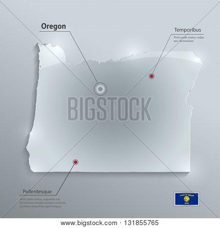 Oregon map flag glass card paper 3D vector