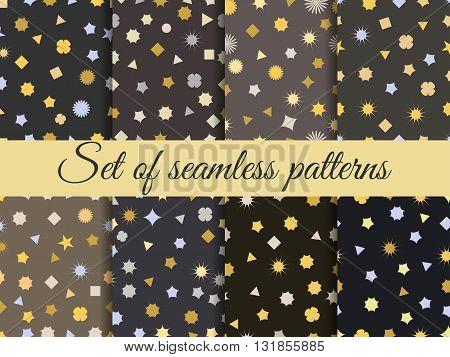 Seamless geometric pattern. Geometric chaos. Wrapping paper. Set seamless pattern with geometric figures. Abstract background.