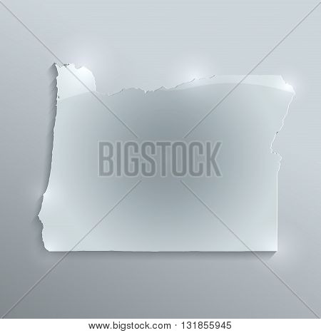 Oregon map glass card paper 3D raster