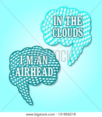 Halftone Dot Speech Bubbles in Blue Clouds