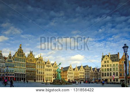 ANTWERP, BELGIUM, February  15, 2016 Great Market Square.