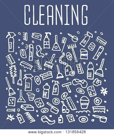 Hand drawn cleaning tools seamless logo, cleaning tools doodles elements, cleaning seamless background. cleaning sketchy illustration