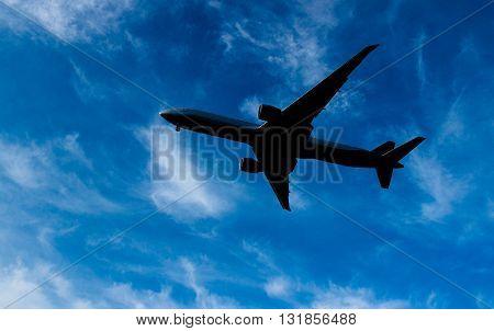 rising in the dark sky the plane