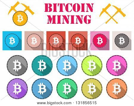 Bitcoin. Bitcoin Symbol, Flat Coin With Shadow. Bitcoin Mining. Set Of Icons.