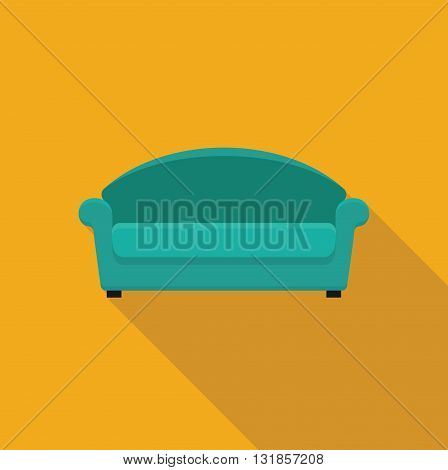 Sofa. Stylized flat icon with a shadow