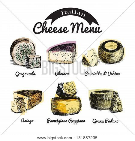 Vector illustrated Set #1 of Italian Cheese Menu. Illustrative sorts of cheese from Italy