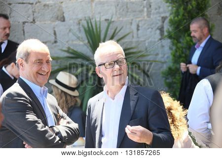 CANNES, FRANCE - MAY 20: Pierre Lescure, Thierry Fremont attend the Mayor's lunch given in honour of the media at Place de la Castre during the 69th Cannes Festival on May 20, 2016 in Cannes, France.