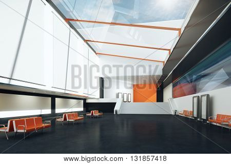 Interior with blank posters orange benches and black floor. Mock up 3D Rendering