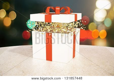 Gift Box Blurry Lights Background