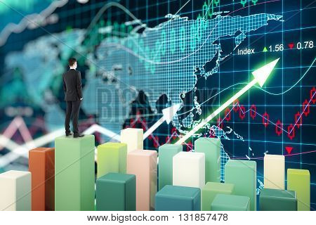 Fund manager standing on chart bars and looking at forex graph. 3D Rendering