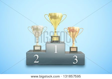 Sports pedestal with golden silver and bronze winner cups on blue background. 3D Rendering