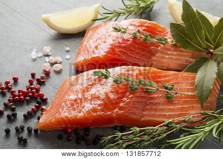 Fresh Raw Trout Fillets With Herbs And Spices