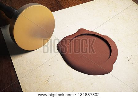 Aged paper sheet with blank golden stamper and brown seal on wooden background. Mock up 3D Rendering