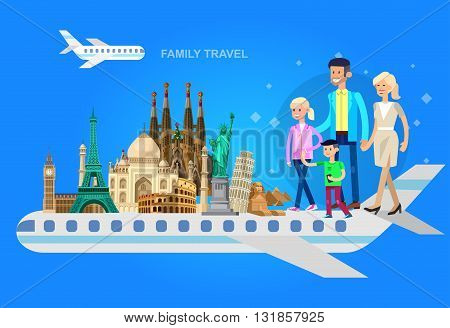 High quality, detailed most famous World landmarks characters family travel by plane. Travel vector. Travel illustration. Travel landmarks. Happy travel