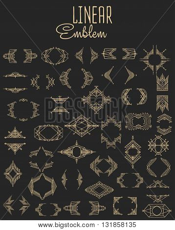 Set of elegant linear monogram design. Vector  linear frame and monogram illustration. Trendy linear monogram and linear frame. Monogram set