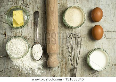 Overhead Shot Of Baking Ingredients