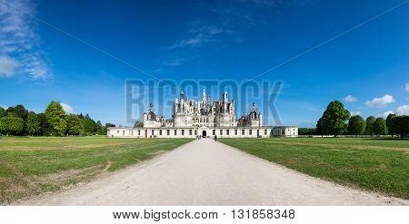 The royal Chateau de Chambord at Chambord Loir-et-Cher France