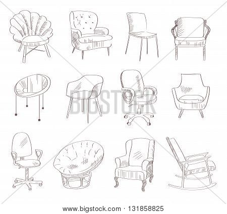 Set with the chairs. Vector illustration. Hand drawn. Indoor