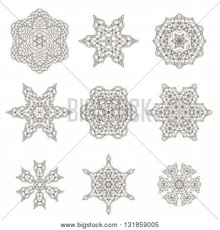 Round Geometric Ornaments Set Isolated on White Background
