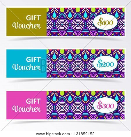 Colorful gift voucher templates with aztec pattern