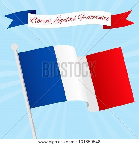 Vector Illustration for National Day of France celebrated on 14 July Bastille Day. Ribbon with text Liberty Equality Fraternity. Poster flyer template with French flag on a blue sky background
