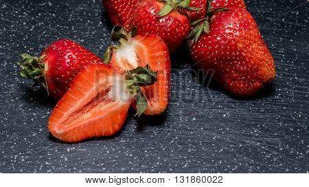 Cut Fresh Strawberries, Closeup Shot