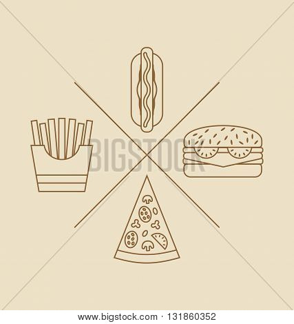 Illustration Design elements for Logo of Fast Food, Icons of Hand Drawn, Linear Style - Vector