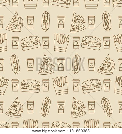 Illustration Seamless Pattern with Fast Food. Contour Icons of Hot Dogs, Hamburgers, Slices of Pizza, French Fries, Coffee - Vector