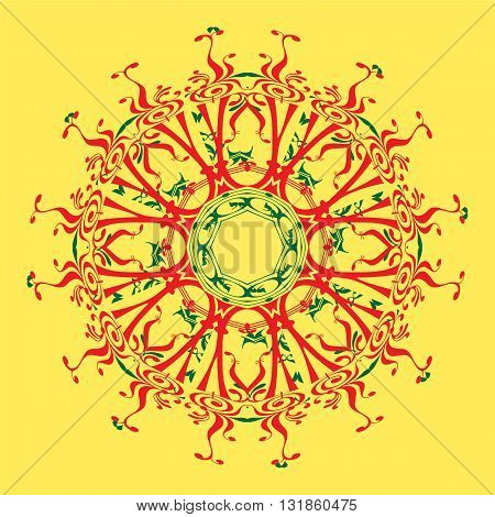 red and green mandala on the yellow background