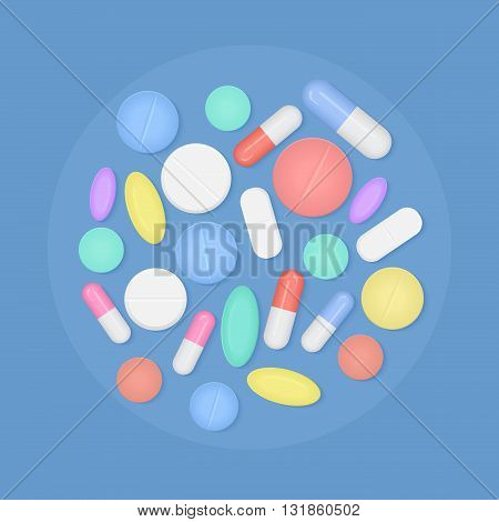 Many colorful medicine pills top view isolated