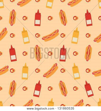 Illustration Seamless Pattern with Hot Dogs, Bottles of Mustard and Ketchup. Fast Food Background - Vector