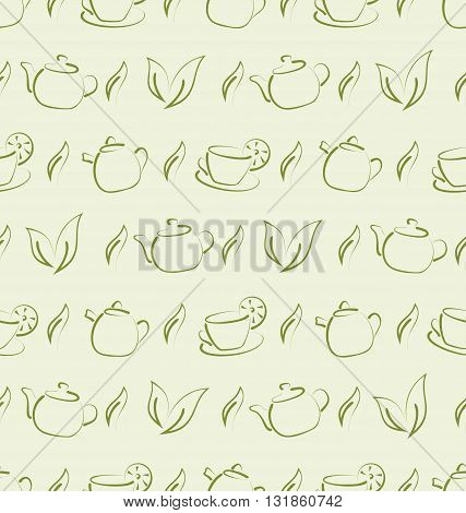 Illustration Seamless Wallpaper with Herbal Tea, Cups and Teapots. Freehand Style - Vector