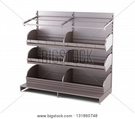Wooden rack for bakery products isolated on white background. Shelves for bread. Shelf for baking. 3d render image