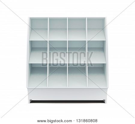 Supermarket showcase with shelves isolated on white background. Front view. Glassed showcase. 3d rendering