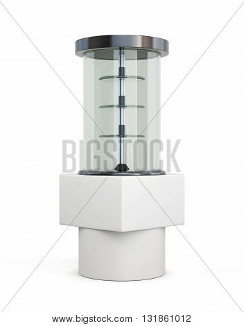 Glassed showcase stand with shelves isolated on a white background. 3d rendering.
