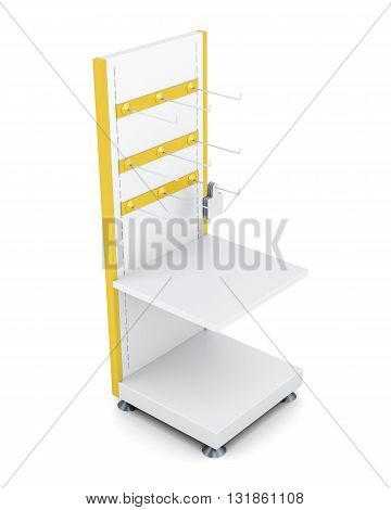 Rack with shelves and hooks for goods isolated on a white background. 3d rendering.