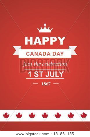 Illustration for 1st of July Canada Independence Day with flag and maple leaf. Beautiful retro text