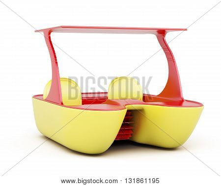Catamaran for a beach holiday isolated on white background. 3d rendering.