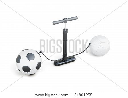 Pumping up balls hand pump isolated on white background. 3d rendering.