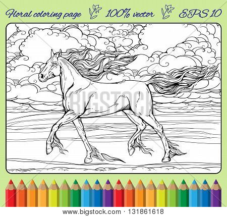 Image of a horse with mane and tail of flames of fire. Coloring page in a frame.