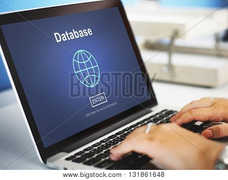 Database Storage Online Technology Internet Globe World Concept
