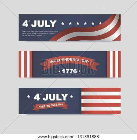 Vector banners for Independence Day of America. Set of posters for 4th of July. Illustrations for a holiday.