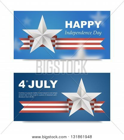 Banners with flag for US Independence Day. 3d effect can be removed. Vector EPS 10. Festive banner for the site on 4th of July