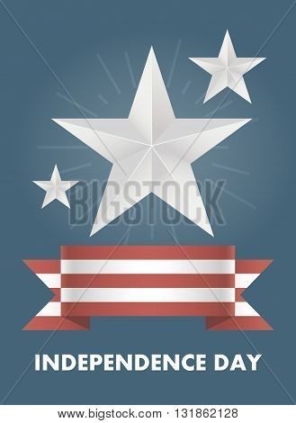 Vector card with Independence Day of America. Illustrations on the theme of freedom and independence. Banner July 4th holiday. Bright blue background with red and white ribbon. Silver Stars