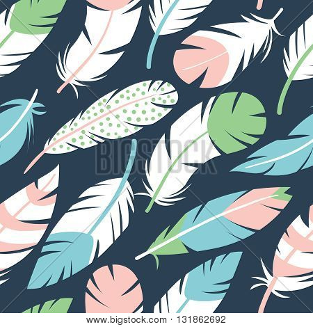 Abstract vector seamless pattern with colorful decorative bird feathers