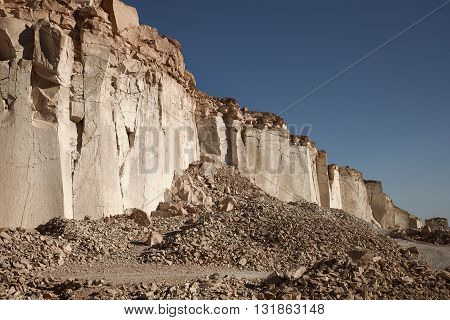The famous sillar stone quarry Peru. A light coloured volcanic rock used in many famous colonial buildings in Arequipa leading to the name The White City.