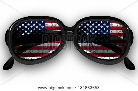 Sunglasses with USA flag, vector art illustration.