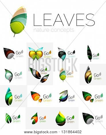 Abstract geometric leaves, company logo collection, nature icon set. Vector illustration