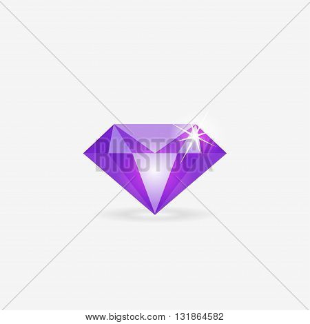 Diamond vector icon, diamond shape emblem, jewelry collection shop logo, violet diamond geometric glass stone, modern flat trend design isolated on white background