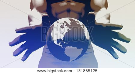Hands Holding Globe and Environmental Awareness or Clean Power 3D Illustration Render